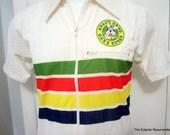 1970s Shirt Rainbow Stripe Retro Hipster Space Expo by Takashimaya Large Unused