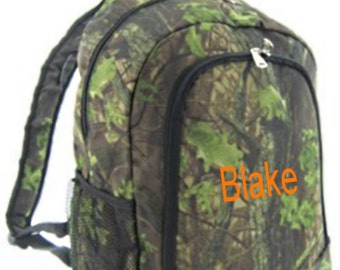 SALE Personalized Boys Backpack - Boys Canvas Booksack mossy oak pattern Camo Monogrammed FREE