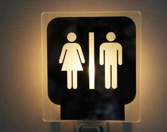 Nightlight,toilet,man,woman,glass,night light,restroom,bathroom