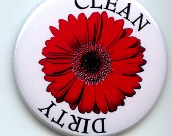 """Single RED Gerber Daisy Flower Dishwasher Clean/Dirty 2.25"""" large Round  Magnet"""