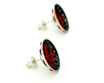 BOMBYX MORI red silk sterling silver oxidised earring stud / post