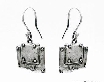BOND TOGETHER steampunk oxidised sterling silver earrings dangle hook