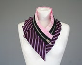 RESERVED Statement collar necklace, upcycled silk and satin, zipper collar in pink white purple stripes, women neck collar