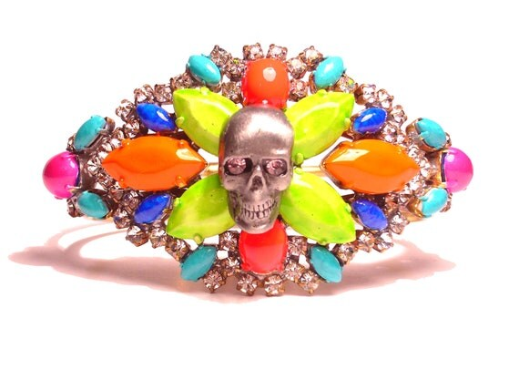 One of a Kind Neon Hand Painted Vintage Rhinestone Skull Bracelet - EPHEMERA Collection FW Collection (Ready to Ship)