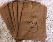 Kraft Favor Bags- Mason Jar- Custom Initials- Wedding Favor Bags- Vintage- Rustic- Country- Set of 6