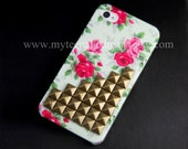 Iphone 4 Case, Studded iPhone 4s Case, Antique Bronze stud Iphone case Flower Rose white IPHONE 4 Case