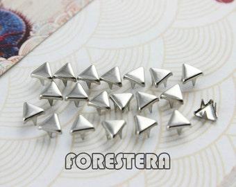 200Pcs 5mm Silver Triangle Studs Small Metal Studs (SFT05)