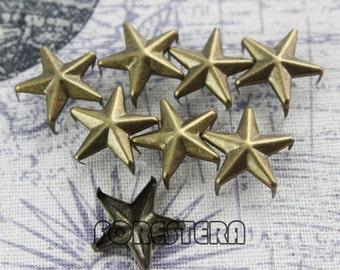 100Pcs 15mm Antique Brass STAR Studs Big Studs (BS15)