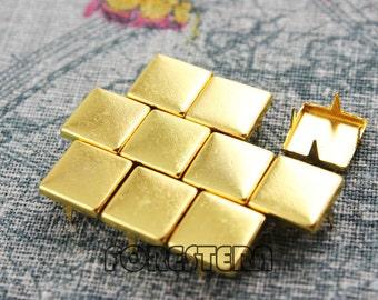 400Pcs 10mm Gold Flat Square Studs (JFQ10)