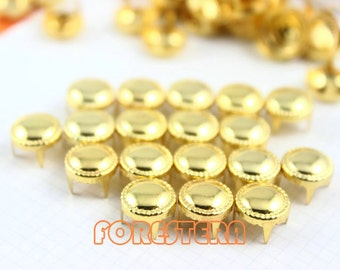 100Pcs 9mm Gold Dotted Dotted Border Round Studs Metal Studs (JDR09)