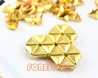 200Pcs 10mm Gold Triangle Studs Metal Studs (JT10)