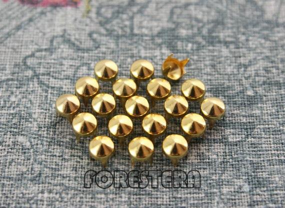 50Pcs 5mm Gold CONE Studs Metal Studs (JC05)