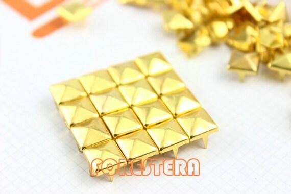 8mm Gold Pyramid Stud Punk Rock Leathercraft Stud (JP08)