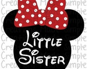 Minnie Mouse Inspired Little Sister Transfer