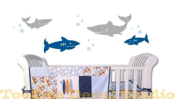 Shark Set Ocean Sea life fish Beach Nautical Regatta nursery kids vinyl wall decal sticker