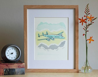 "Airplane ""LaGuardia / Constellation"" Letterpress Art Print"