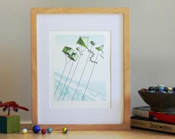 Kites Flying Over Bridge - Letterpress Art Print