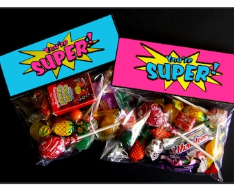 INSTANT DOWNLOAD - Printable SuperGirl Treat Bag Toppers Superhero Birthday