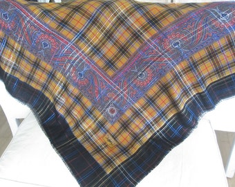 YSL Vintage 70s Gold and Black with Metallic Thread Tartan Plaid Oversized Wool and Silk Shawl Scarf