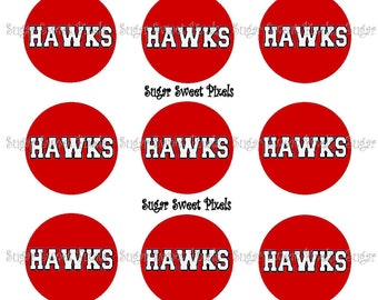 INSTANT DOWNLOAD Red Hawks School Mascot 1 inch Circle Bottlecap Images 4x6 sheet