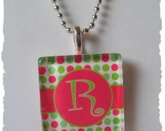 CLEARANCE SALE Hot Pink Lime Green Polka Dot  Initial Glass   Pendant  Necklace