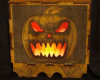 Lord Mocks Halloween Pumpkin Glow box Decoration