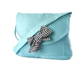 Turquoise Cotton Fabric Messenger  Bag  Navy Blue and White Gingham  Bow Adjustable strap