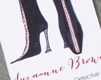 Personalized business card with Vintage Boots Illustration, Set of 50