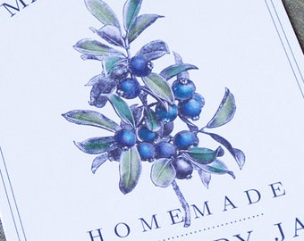 Blueberry  Canning Label or Sticker, set of 18