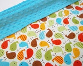 Urban Zoologie Bird Bermuda Print /Soft Minky Baby Blanket ,Ready to Ship