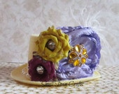 Elegance - Yellow and Lilac - Mini Top Hat - Ready to Ship