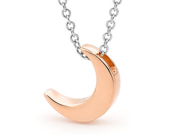 Pink moon, Rose Gold small CRESCENT MOON pendant, necklace or anklet, 9ct Rose Gold crescent moon pendant, Crescent moon charm