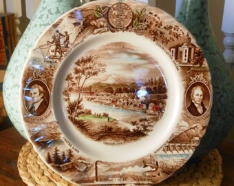 Vintage Johnson Bros Transferware Plate of Oregon City Pattern with Lewis and Clark
