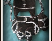 NFL Newborn Baby Crochet Football Earflap Hat And Diaper Cover Set With Booties and Football Pattern