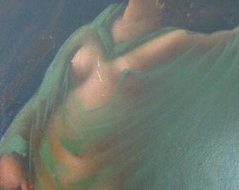 Art Nouveau Painting, Veiled Nude, Original Art