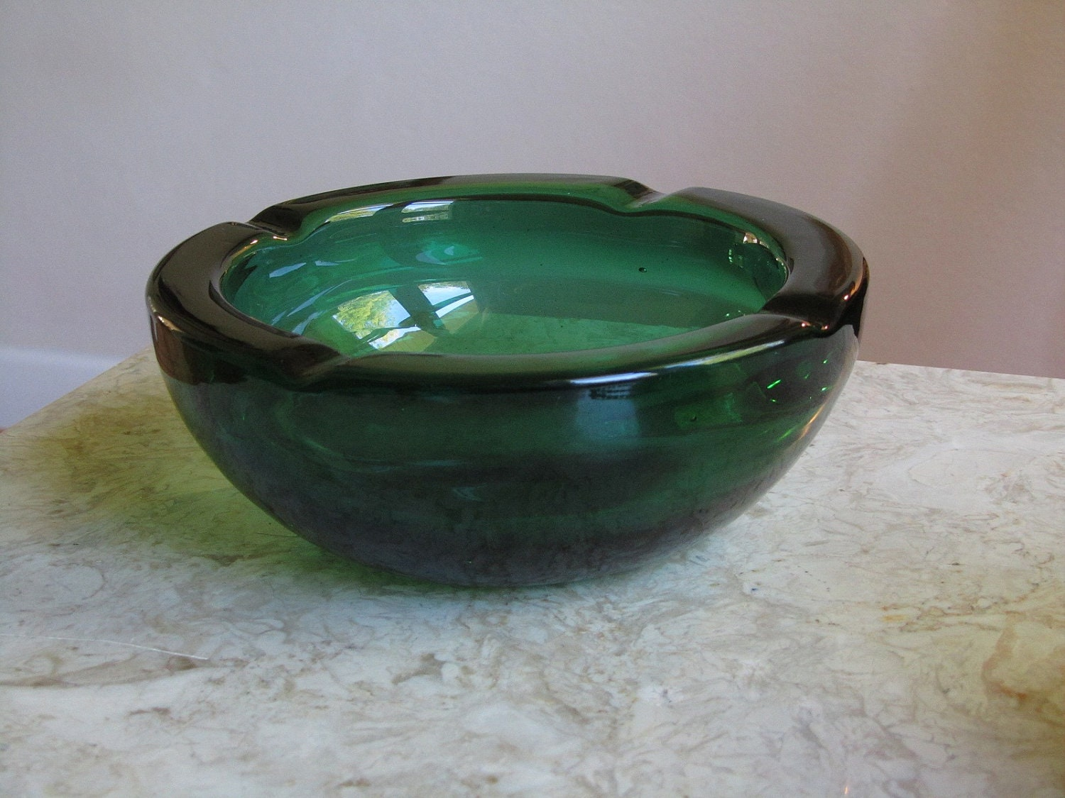 Blenko Glass Emerald Green Ashtray Art Glass By SaleOfEstates