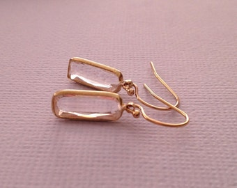 Crystal Clear Earrings in Gold -Gold Clear Crystal Earrings -Clear Crystal Earrings in Gold