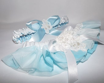 Aqua Blue Wedding Garter Set/ Hand Dyed/  Ooak Couture/  French LACE GARTER Belt/