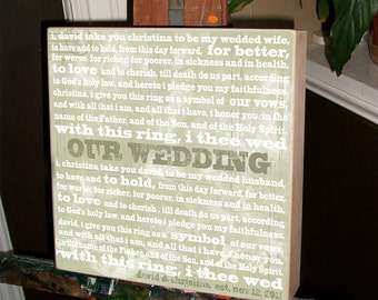 Personalized Wedding Vows, Wedding Vows Framed, Wedding Sign, Anniversary Gift, Parents Gift, Gifts for the Bride, Gifts for the Groom, Typo
