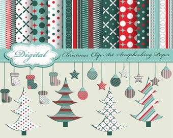 SALE - Cute Christmas Clip Art and Digital Papers for scrapbooking, card making, Invites, photo cards (CA08)