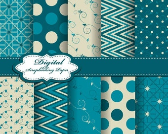 Cute Blue and Grey Christmas Digital Papers for scrapbooking, card making, Invites, photo cards (P153)