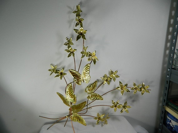 Vintage Metal Butterfly on Branch of Dogwood Flowers Brass Homeco Wall Hanging