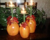 Pumpkin Wine Glass Candle Holders