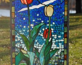 Blue Green Red and Golden Yellow Stained Glass Mosaic SpringtimeTulip Panel Spring Tulip Window Hanging