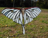 White Luna Moth Stained Glass Window Hanging Suncatcher Ghost Moth