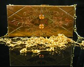 Vintage Dance Purse with Compact & Compartment of Metal Brass Finish and Orange Carnelian Glass Cabochon
