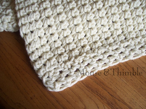 Crochet Yarn For Beginners : Easy Beginner Crochet PATTERN Chunky Afghan Sofa Throw 48 x 60/(1...