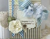 Shabby Chic Handmade Card Blue HAPPY THOUGHTS Handmade Flower Silhouette