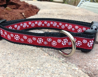 "1"" Width Dog Collar - Snowflakes on Red"