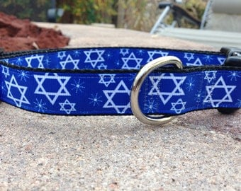 "1"" Width Dog Collar - Stars & Snowflakes on Blue"